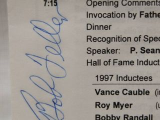 Memorabilia Pamphlet of KBA Winter Banquet 1998  with Bob Feller Signature