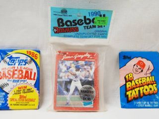 lot of 3 Baseball Card Packages  In Original Packages  1986 Topps Cards  1990 Baseball Team Set and 18 Baseball Topps Tattoos