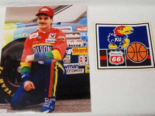 1 8x10 Photo of a Race Car Driver and a Phillips 66 KU Jayhawk Sticker