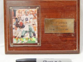 Wood Plaque with Troy Aikman Dallas Cowboys  Card and Engrave Name