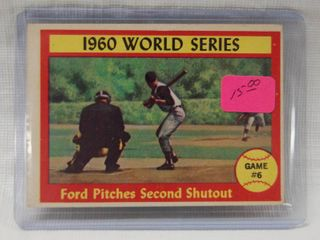 1961 Topps   311   1960 World Series   Game  6   Ford Pitches Second Shutout Whitey Ford Pittsburgh   New York   in Plastic Holder