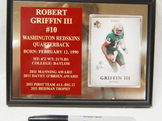 Wood Plaque with Robert Griffin III  10  SP Authentic  Card  Washington Redskins Quarterback
