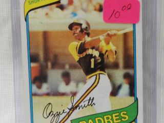 1980 Topps   393 Ozzie Smith San Diego Padres   in Plastic Holder   MAKE SURE YOU BOOK THESE CARDS   PRICE STICKERS ARE VERY OlD