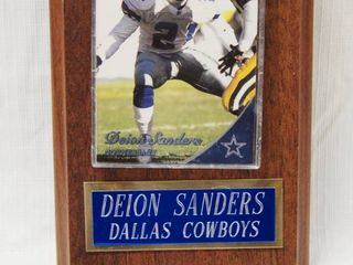 Wood Plaque with Deion Sanders  Dallas Cowboys  Collectible Card and Engraving  WOW