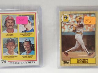 2 Collector Baseball Cards   1978 Topps  708 Rookie Catchers Dale Murphy Bo Diaz lance Parrish Ernie Whitt   1987 Topps Baseball  320 Barry Bonds Rookie Card   in Plastic Holders
