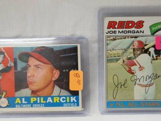 2 Collector Baseball Cards   1960 Topps  498 Al Pilarcik Orioles   1977 Topps Baseball Card  100 Joe Morgan Reds   in Plastic Holders