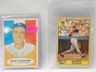 2 Collector Baseball Cards   1961 Topps   136 Walter Alston los Angeles Dodgers   Barry Bonds Rookie 1987 Topps No 320 Baseball Card   in Plastic Holders
