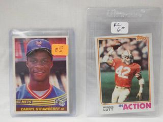 2 Collector Baseball Cards   1984 Donruss Baseball Rookie Card  68 Darryl Strawberry   1982 Topps Football Card  487 Ronnie lott   in Plastic Holders