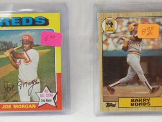 2 Collector Baseball Cards   1975 Topps Baseball Card  180 Joe Morgan   Barry Bonds Rookie 1987 Topps No 320 Baseball Card   in Plastic Holders