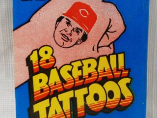 Vintage Collection   18 Baseball Tattoos   Topps  1986  Contains 1 Sheet of 18 Tattoos    1 Stick Bubble Gum   In Original Packaging
