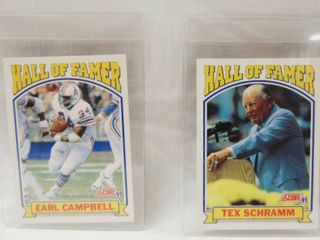 Collectible Football Cards   Earl Campbell  1991 Hall of Famer and  Tex Schramm  1990 Hall of Famer