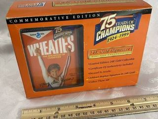 75th Anniversary   Wheaties Collectible   Featuring MARY lOU RETTON   24K Gold Signature