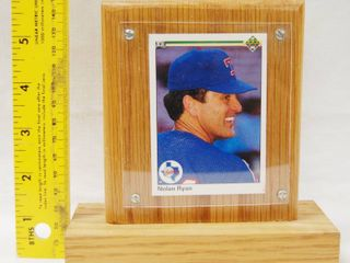 Very Nice Wood Display Plaque w  Nolan Ryan Collectible Card In It