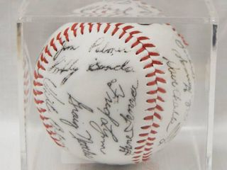 Collectible Baseball in a Plastic Box Display  with Collectible Signatures  Reggie Jackson  Rick Gossage Jim Palmer  and More