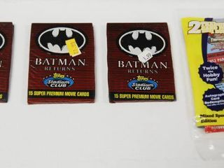 lot of 3 Batman Returns Movie Cards and 1 Mixed Sports Cards   Still in Original Packaging