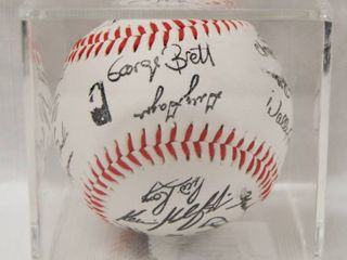Collectible Baseball in a Plastic Box Display  with Collectible Signatures  George Brett  Keith Miller and More