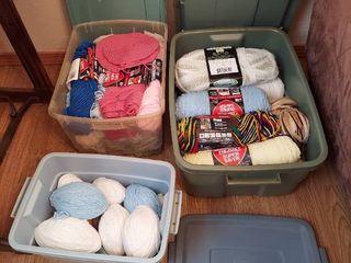 3 Tubs with Yarn