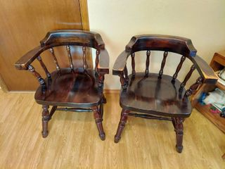 2 Wood Arm Chairs