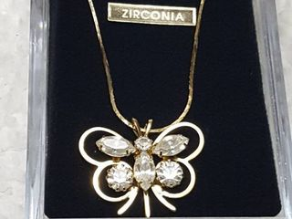 Zirconia butterfly necklace in gift box