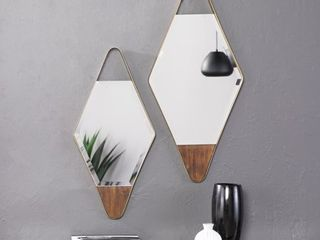 Holly   Martin Rawlins Gold Diamond Wall Mirrors   2pc Set  Retail 115 99
