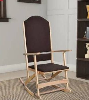 Wooden Folding Rocking Chair with Woven Fabric Upholstered seat