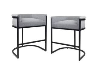 Modern Wide Bucket Upholstered Barstool  Set of 2  by Christopher Knight Home   Retail 254 99
