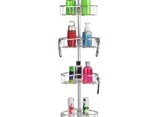Flat Shelf Rustproof Shower Caddy  Satin Chrome  Corner Pole Caddy  Retail 97 99
