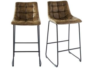 2pc Richmond Metal Barstool Set Brown   Picket House Furnishings