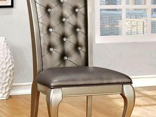 leatherette Upholstered Side Chair  Pack of Two