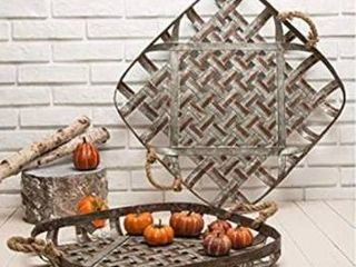 Set of 2 Glitzhome Farmhouse oversized Metal Baskets