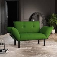 two seater loveseat with metal legs green