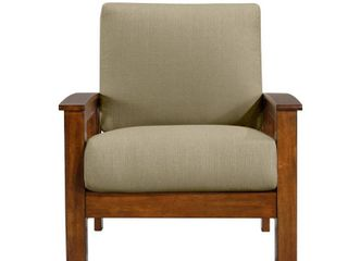 Handy living Omaha Mission Style Arm Chair with Exposed Cherry Wood Frame in Barley Tan linen