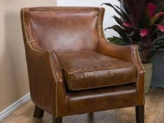 Carbon loft linden Vintage Brown leather Club Chair  Retail 794 99