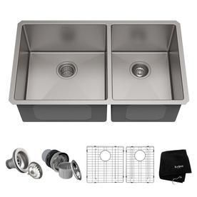 Kraus 33 inch Undermount 60 40 Double Bowl 16 gauge Stainless Steel Kitchen Sink