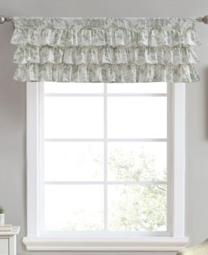 6 laura Ashley Natalie Cotton Green Window Valance   50 x 18