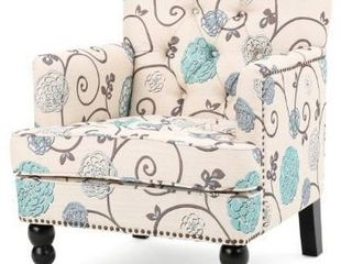 Harrison Floral Fabric Tufted Club Chair