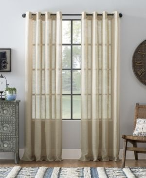 set of 2 Archaeo Slub Textured linen Blend Grommet Top Curtain