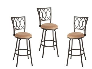 Set of 3 Virgil Adjustable Height Swivel Barstool Tan Bronze   Silverwood