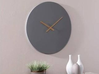 Carbon loft Yorba Contemporary Grey Round Wall Clock  Retail 86 99