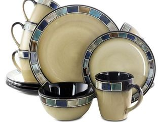 Gibson Elite 114339 16R Casa Azul 16 Piece Reactive Glaze Dinnerware Set  Cream and Blue