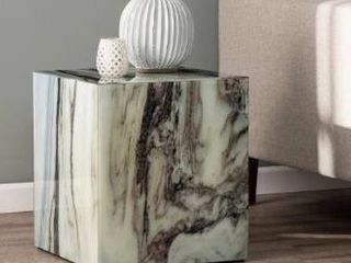 Strick   Bolton Pivenchy Contemporary White Marble Stone Accent Table  Retail 125 99