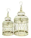 Deco 79 Metal Wall Hanging Bird Cage  22 Inch and 18 Inch  Set of 2