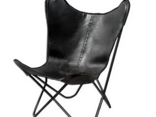 Carbon loft larkin Geometric Black leather Butterfly Chair  Retail 217 99