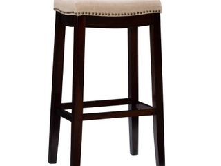 Nail Head Backless Barstool Upholstered Seat   Beige Walnut   linon