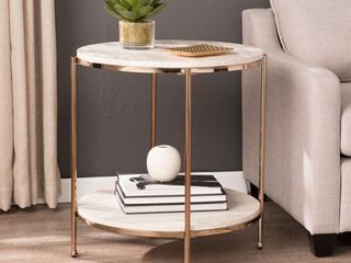 Solstone Round Faux Stone End Table  Glam  Champagne  Faux Travertine by Ember Interiors