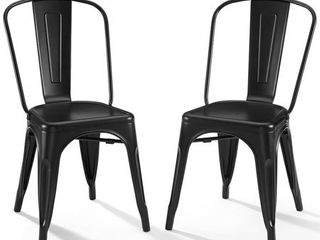 Set of 2 17  Amelia Metal Chair Matte Black   Crosley