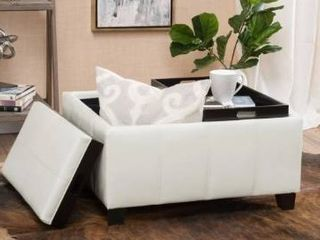 Christopher knight home mansfield faux leather tray top storage ottoman Ivory