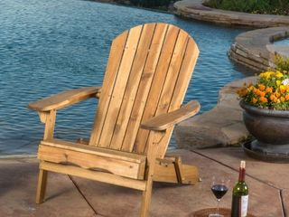 Hanlee Rustic Acacia Wood Folding Adirondack Chair by Christopher Knight Home  Retail 147 49