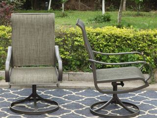 2pc Patio Swivel Rocking Chairs   Gray   Captiva Designs