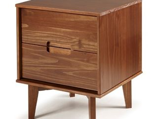Mid Century Modern 2 Drawer Wood Nightstand   Walnut